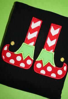 Elf Shoes  Christmas Applique Tshirt by pinkprincesscouture, $20.00