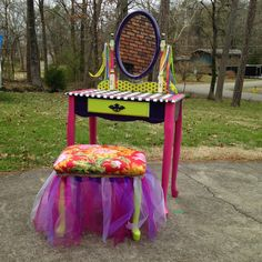 A hand-painted, Fancy Nancy, McKenzie Childs inspired vanity. $325 (SOLD) This is really cute; great inspiration.
