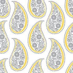 Emma & Mila Yellow Matters Paisley White Cotton by the Yard