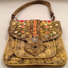 Vintage Mexican Hand Tooled Leather~Hand Painted~Purse~
