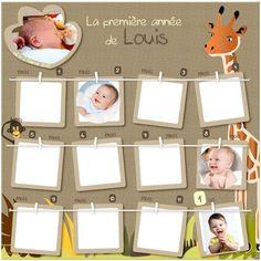 Idée de cadeau de naissance originale, ce porte photos permettra aux parents de suivre l'évolution de bébé durant toute la première année de sa vie.