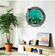 3D Submarine Window Sticker, size:45cm*45cm,Item no:z-2-002,EXW Yiwu usd  0.55/pc