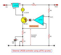 Look at High current adjustable voltage regulator to or Easy and durable circuit. Electronics Components, Diy Electronics, Electronics Projects, Electrical Circuit Diagram, Power Supply Circuit, Dc Circuit, Electronic Circuit Projects, Electronic Schematics, Metal Working Tools