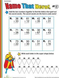 Worksheets: Name That Hero! Two-Digit Addition #3