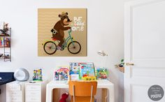 """Canvas or Poster """"Bear on a bicycle"""" by PIXERS #kidsroom"""