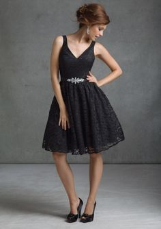 A-line Black V-neck Matching Belt Accent Lace Overlay Tea Length Bridesmaid Dresses morilee Style 31001