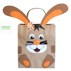 Craft set gift bag bunny, set of Here the motifs have to be transferred to the photo cardboard paper and cut out with the enclosed template. Only scissors, glue and pens are needed for the design. Diy Gifts For Kids, Easter Crafts For Kids, Paper Bag Crafts, Paper Bags, Easter Activities, Easter Baskets, Gift Bags, Christmas Crafts, Bunny