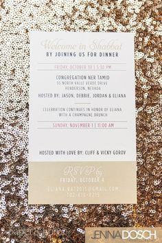 Hollywood Glam Bat Mitzvah Invitations Shabbat Insert Card | Photo by @jennadosch  http://www.paperandhome.com/glam-bat-mitzvah-invitations/