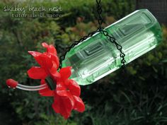 Plastic Spoon & Bottle Hummingbird Feeder @ Shabby Beach Nest