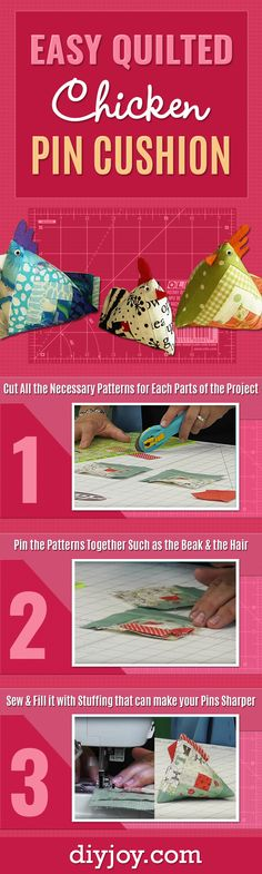 Easy Quilted Chicken Pin Cushion - Quick Sewing Project Tutorial with Step by Step Instructions for a Cute DIY Gift Idea for Friends Who Love To Sew - DIY Projects and Crafts for Women