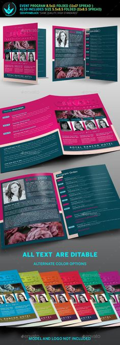 Breast Cancer Charity Event Program Template — PSD Template #auction #womens conference • Download ➝ https://graphicriver.net/item/breast-cancer-charity-event-program-template/18206807?ref=pxcr