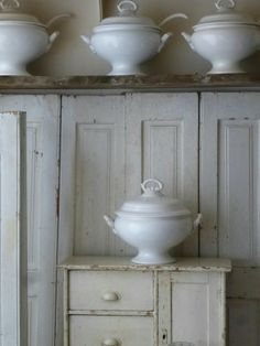Beautiful tureens and cupboard