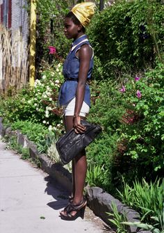 Sleeveless denim, belted, and turban, of course. African Street Style,  African 5369fefab839