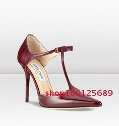 New Arrival Women's JMC Elegant T-Strap Black/Burgundy Patent Leather Pointed Toe Slingbacks Bowtie Stiletto Pumps Office Shoes US $95.00
