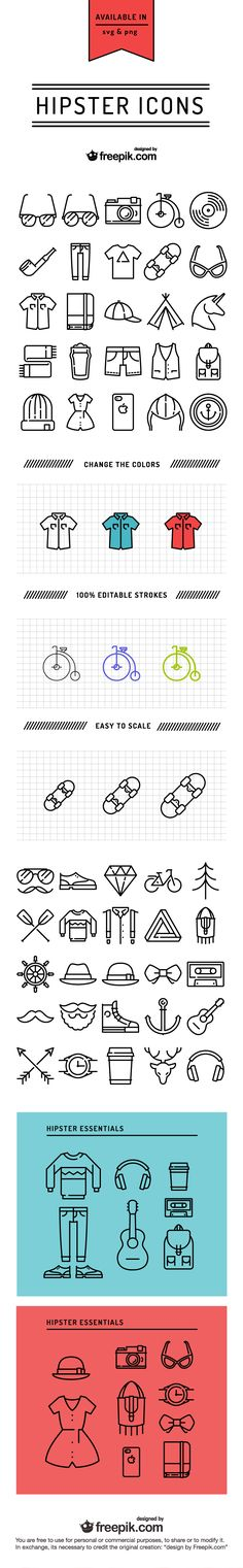 The compilation of FREE Hipster Icons: http://blog.templatemonster.com/2015/10/01/free-hipster-icons-by-freepik/?utm_source=pinterest&utm_medium=timeline&utm_campaign=freepic