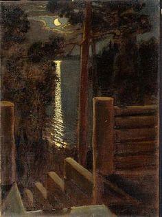 Akseli Gallen-Kallela (1865-1931, Finland)  'Moonlight' - Oil Painting