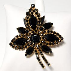 Vintage Juliana D & E  Delizza Elster 3 Dimensional Brooch/Pin set in Gold Tone Metal with Jet/Onyx Crystals Leaf Style and Verified by VintageMeetModern, $65.00