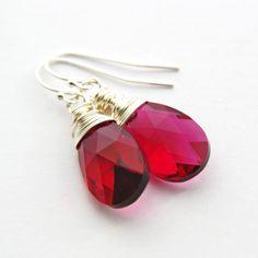 Ruby Pink Earrings Sterling Silver Wire Wrapped Drop Earrings Fuchsia Rose Hot Pink Swarovski Crystal Earrings Raspberry Crystal Jewelry