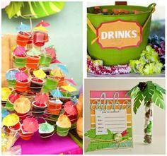 Decoração de festa superfofa para tema Havaí com convites até bebidinhas criativas