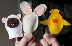 Easter finger puppets - One could also make Christian Easter finger puppets too.  I enjoy using the holiday to highlight Christ's ressurection, of course, but also to highlight the Seasons and why we see the baby animals in so much Easter decor.