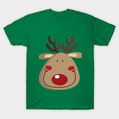 A funny illustration of a Rudolf the reindeer. For decorate your Christmas. Funny Illustration, A Funny, Reindeer, Classic T Shirts, Graphic Tees, Snoopy, Fabric, Mens Tops, Cotton