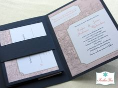 Vintage Map Destination Wedding Save the Date and Invitation Set