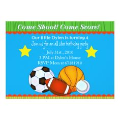 All Star basic kids Sports Birthday Party invite