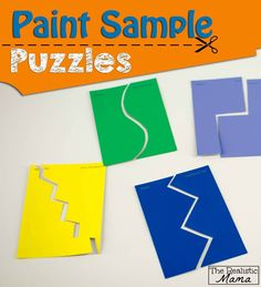 Paint Sample Puzzles - with instructions for all ages. Perfect on-the-go activity you can carry with you! #prek (repinned by Super Simple Songs)