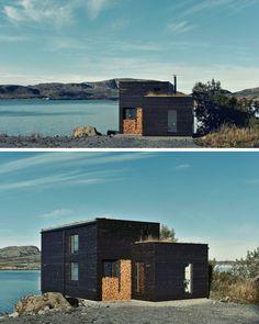 19 examples of modern scandinavian house designs this simple waterfront hou Scandinavian House, Modern Scandinavian Interior, Scandinavian Architecture, Roof Design, Exterior Design, Design Art, Contemporary Cabin, Roof Architecture, Waterfront Homes
