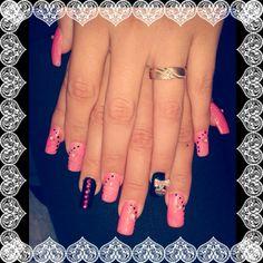 Nails pink/black