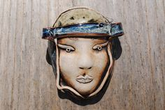 ceramic mask sculpture art clay face garden by BurningHeartArt