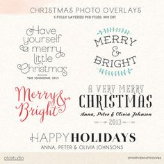 Digital Christmas overlays holiday photo card by OtoStudio