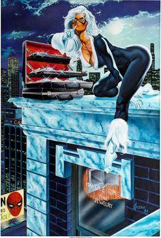 Joe Jusko's Black Cat Poster Illustration Original Art (Marvel, 1986).