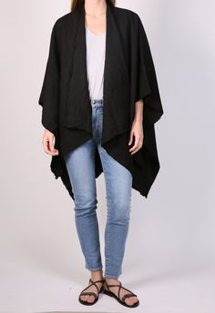 The Lady & The Sailor Beach Poncho in Black