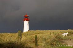White red lighthouse in List, Sylt, Denmark