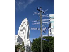 Sister Cities of L.A. Sign - N. Main St. & W. 1st St. ... arrows pointing to 21 sister cities