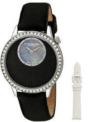 Stuhrling Original Women's 336.12151Set Vogue Audrey Radiant Quartz Black Mother-Of-Pearl Dial Watch Set