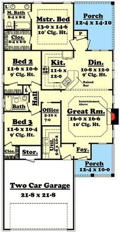 Traditional House Plans - Home Design Narrow Lot House Plans, House Plans One Story, Craftsman House Plans, New House Plans, Narrow House, Craftsman Style, The Plan, How To Plan, Plan Plan