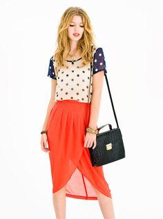 polka dots, coral, gold, and black. #lushclothing