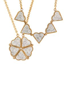Simulated Diamond Heart & Clover Convertible Pendant Necklace @Pascale Lemay Lemay Lemay De Groof