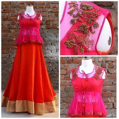 Kids Indian Wear, Indian Party Wear, Kids Blouse Designs, Dress Neck Designs, Indian Attire, Indian Outfits, Lehenga Crop Top, Simple Lehenga, Sari Design