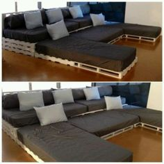 DIY Sectional from Pallets and Twin Mattresses.  Pallet sectional with twin matresses!  movie night, if we had a finished basement? #Sleepys