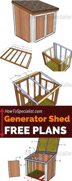 Generator Shed Plans Learn how to build a generator shed using these free and step by step plans! These generator shed plans will show you anything you need to know about framing a enclosure with double front doors and a top lid! Diy Storage Shed Plans, Wood Shed Plans, Shed Building Plans, Storage Sheds, Building Ideas, Small Storage, Free Shed Plans, Rv Storage, Cabin Plans