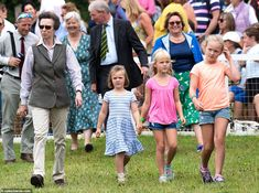 Princess Anne's three eldest granddaughters (left to right is Mia, Isla and Savannah) join. Royal Princess, Princess Charlotte, Neutral Trousers, British Eventing, Autumn Phillips, The Perfect Girl, Family Outing, Girl Gang, Royal Fashion