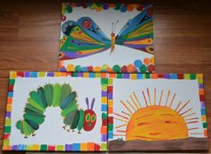 11x14 hand painted wall canvases very hungry caterpillar, sun, butterfly and more. On etsy Custom paintings available!