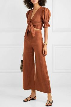 Faithfull The Brand Scelsi Cropped Linen Wide-leg Pants - Tan , Wide Leg Linen Pants, Linen Trousers, Faithfull The Brand, Linen Dresses, Lounge Wear, Summer Outfits, Fashion Dresses, Street Style, Style Inspiration
