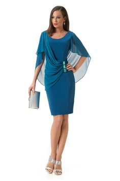 Vestido de Fiesta de Bámbola (Fontar) Blue pencil dress cape details