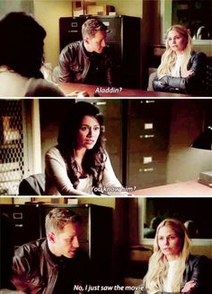 """Aladdin? No, I just saw the movie..."" - Emma, Jasmine and David #OnceUponATime"