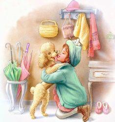 Children's illustration by Marcel Marlier Marcel, Penny Parker, Arte Country, Baby Clip Art, Gif Animé, Cartoon Pics, Poodles, Beautiful Dolls, Cute Drawings