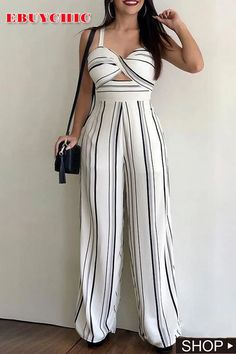 This striped jumpsuit features v neck and bare back, and this high waist jumosuit is for the casual life, date and other occasions. Maxi Shirt Dress, Jumpsuit Dress, Maxi Shirts, Striped Jumpsuit, African Print Fashion, Jumpsuits For Women, Casual Dresses For Women, Party Dress, Party Wear